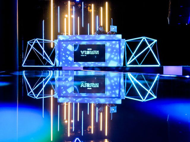 App Annie Vision Party Roar Events Stage Lighting Design Futuristic Party Stage Set Design