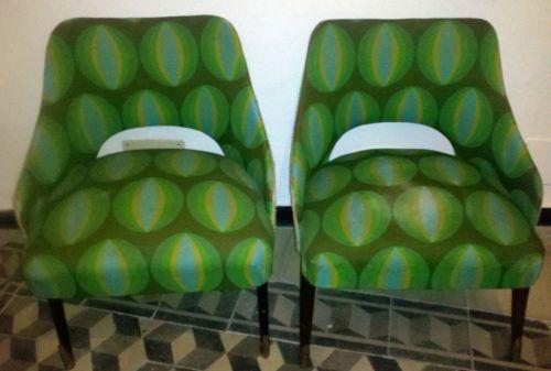 Sedie Imbottite Anni 50 : Coppia poltroncine poltrone sedie imbottite di design anni