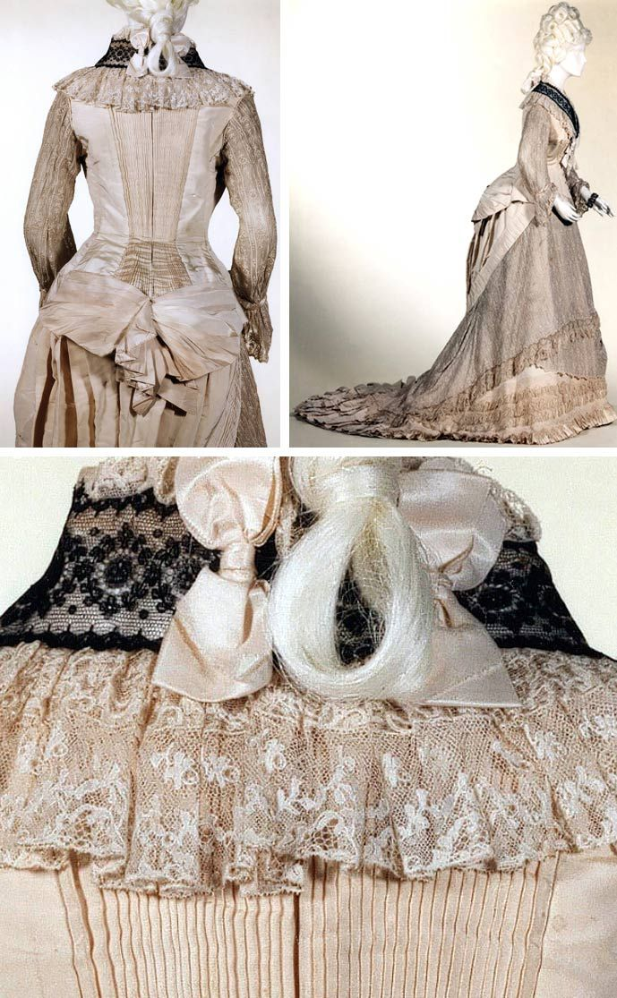 Dress, ca. 1877. Cream faille and cream & black lace. Musées Royaux d'Art et d'Histoire, Brussels