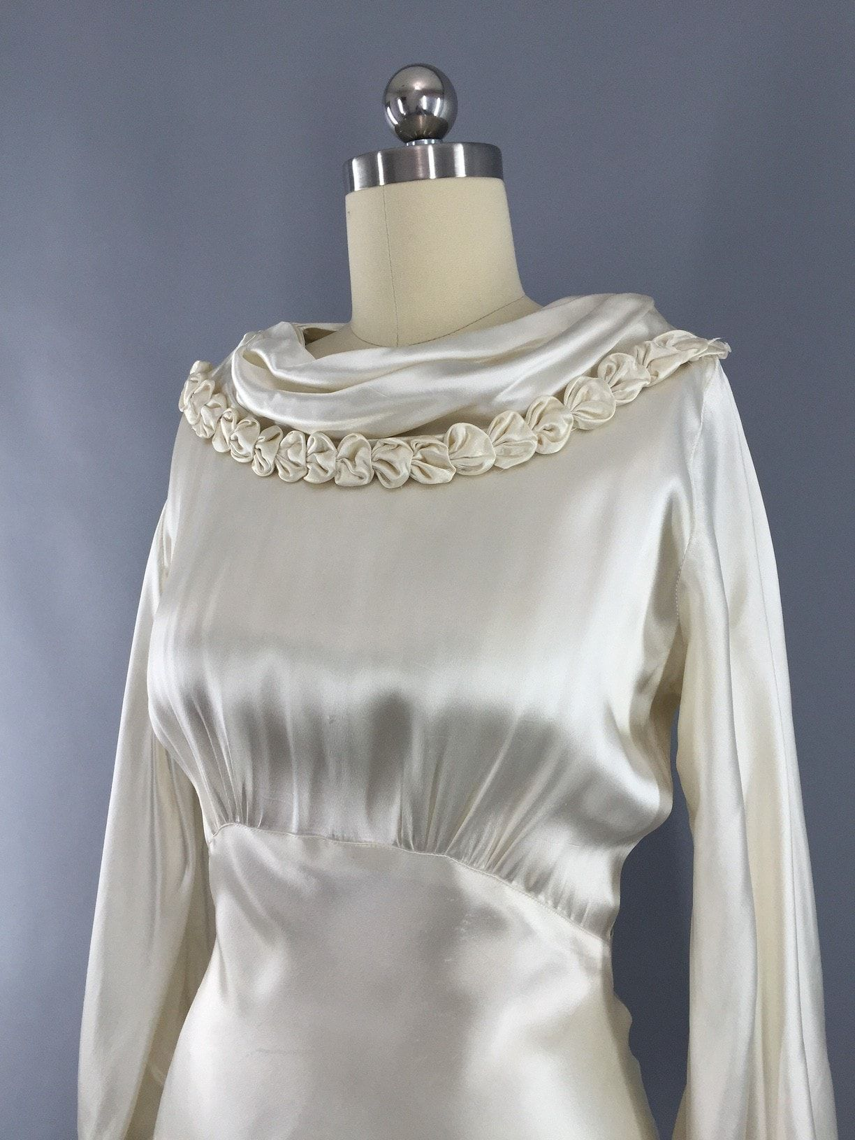 Modern vintage wedding dresses  Vintage s Ivory Silk Satin Bias Cut Wedding Dress  Silk satin