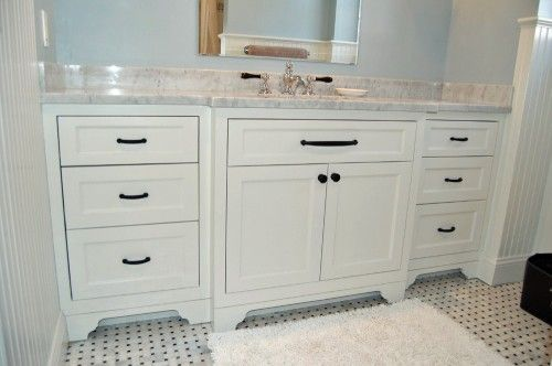 A Classic Hand Painted Vanity With Inset Shaker Style Doors And