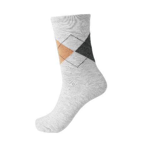 New Fashion Men Socks Contrast Geometric Print Breathable Casual Sports Long Socks Business Dress Socks