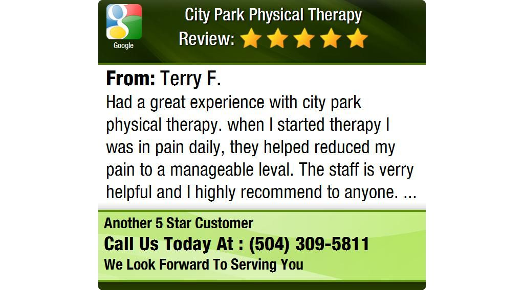 Had a great experience with city park physical therapy