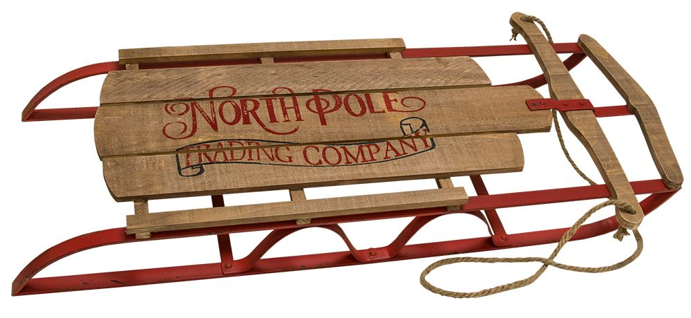 This decorative sled is a replica of childhood sleds from days gone by.