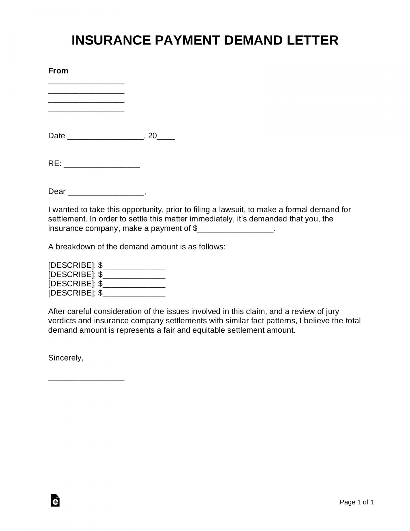 Pin On Demand Letter