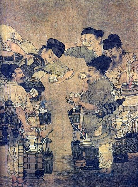 Competition in the Tea Market (detail), by Liu Songnian, around 1190 A.D., Southern Sung Dynasty, China.      The picture depicts tea vendors in a competition for the highest quality tea. Demand for quality and tea preparation techniques were so prevalent in daily life that tea competition was popular not only in the tea trade, but also amongst the folks, the literati, the privileged and the imperial court. This had profound influence on the evolution of tea quality and tea consumption…