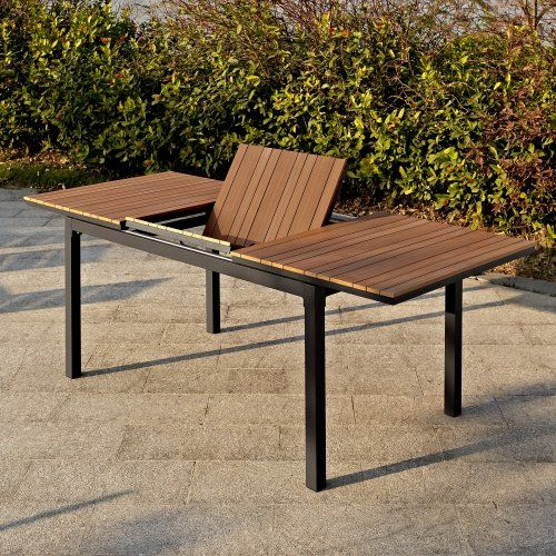 Belham Living Carmona Faux Wood Slat Extension Table Patio