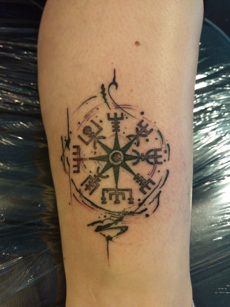 Norse Compass Tattoo : norse, compass, tattoo, Vegvisir,, Norse, Compass., Final, Design., Created, Different, Elements, Board., Loving, Viking, Tattoos,, Tattoo,, Tattoos