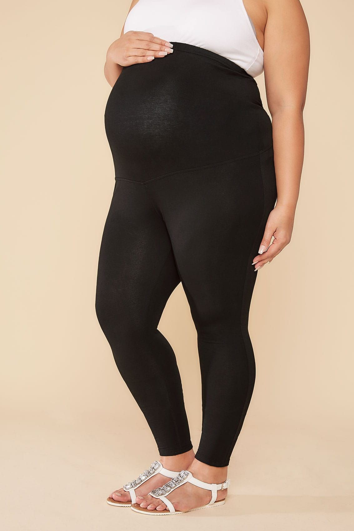 75f190fadeba8 BUMP IT UP MATERNITY Black Cotton Elastane Leggings With Comfort Panel