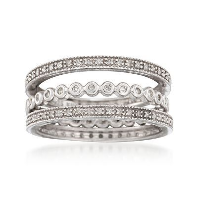 Ross-Simons - Set of Three .36 ct. t.w. Diamond Eternity Band in Sterling Silver. Size 7 - #814797
