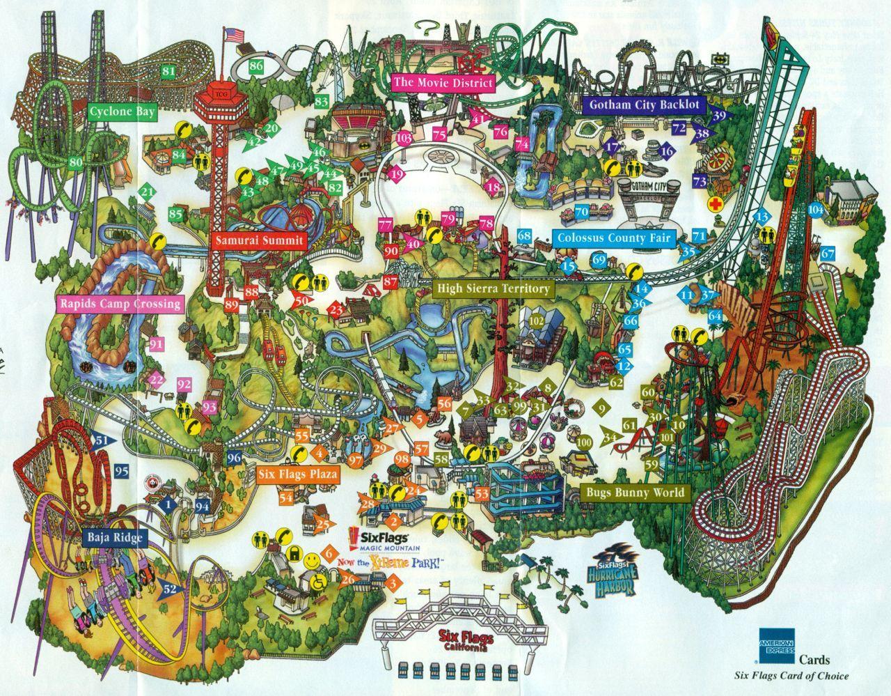 Vintage Six Flags Magic Mountain Ca Six Flags Theme Park Map Magic Mountain California