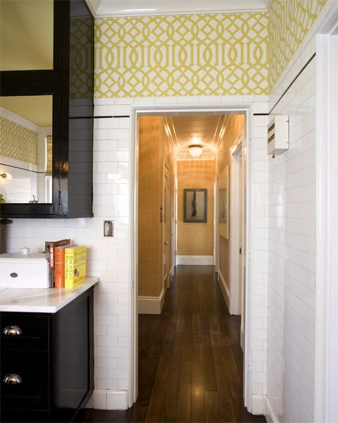 Cool Art Deco Kitchen Cabinets: Subway Tile With Wallpaper Above The Cabinets Would Be