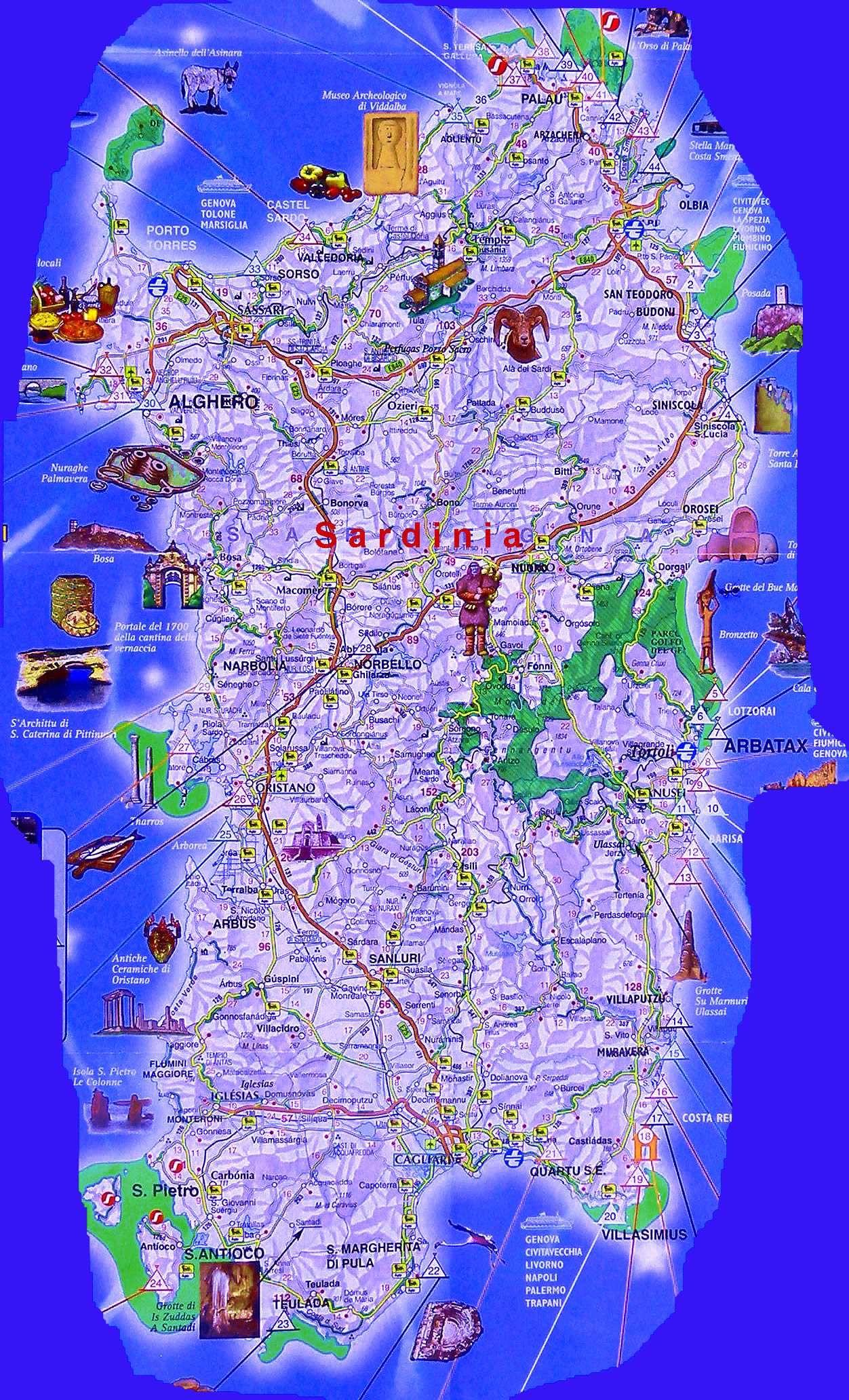 carte touristique sardaigne