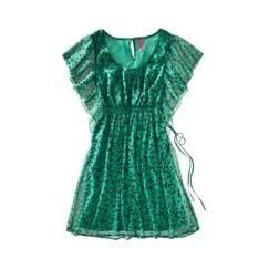 Pure Energy Juniors Plus-Size Short-Sleeve Chiffon Dress - Teal/Black..