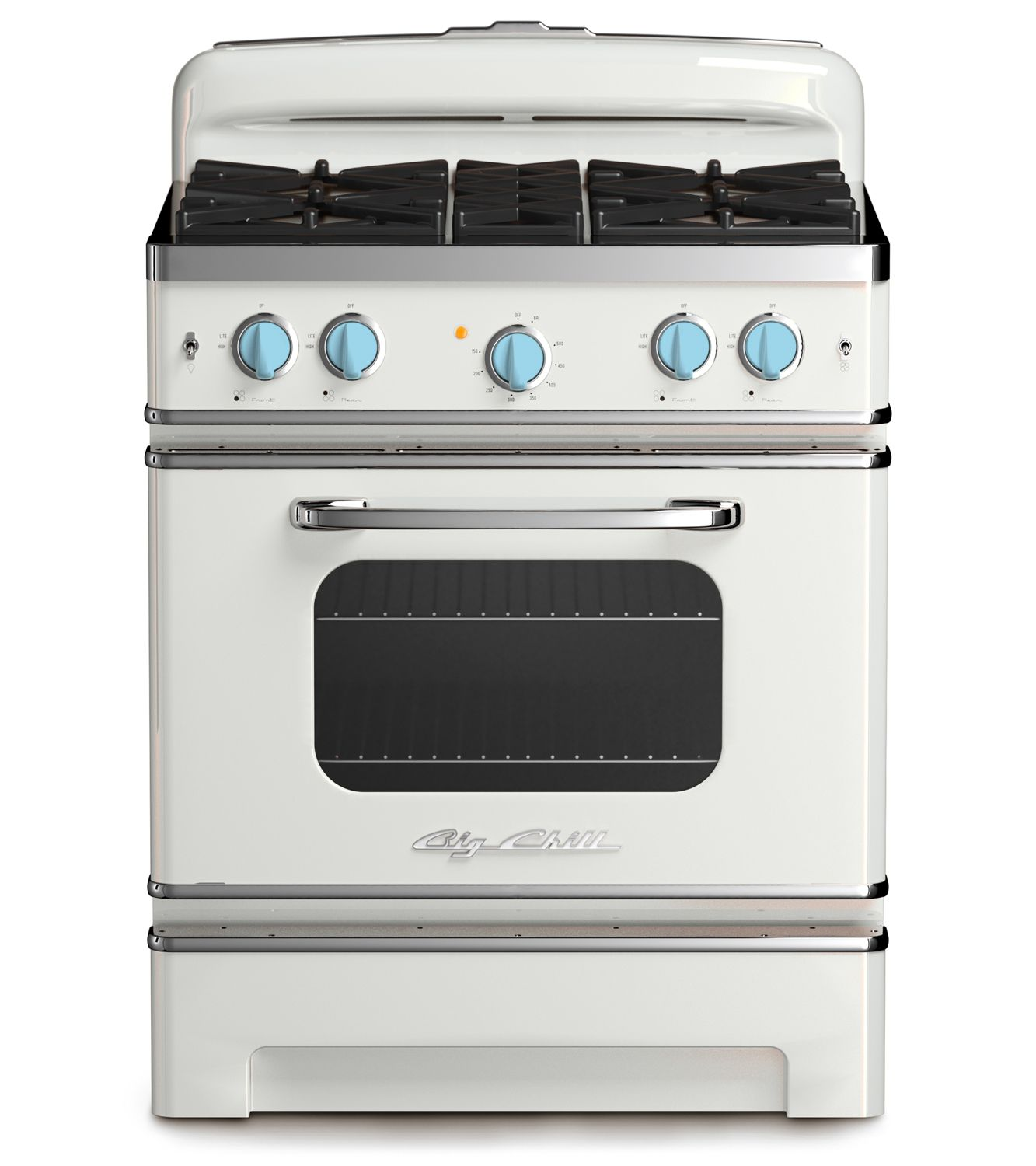 Big Chill White Stove With Blue Knobs