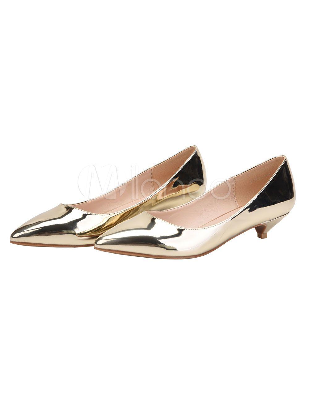Silver Dress Shoes Kitten Heel Pumps Plus Size Pointed Toe Slip On Shoes Milanoo Com Kitten Heel Shoes Silver Dress Shoes Kitten Heel Pumps