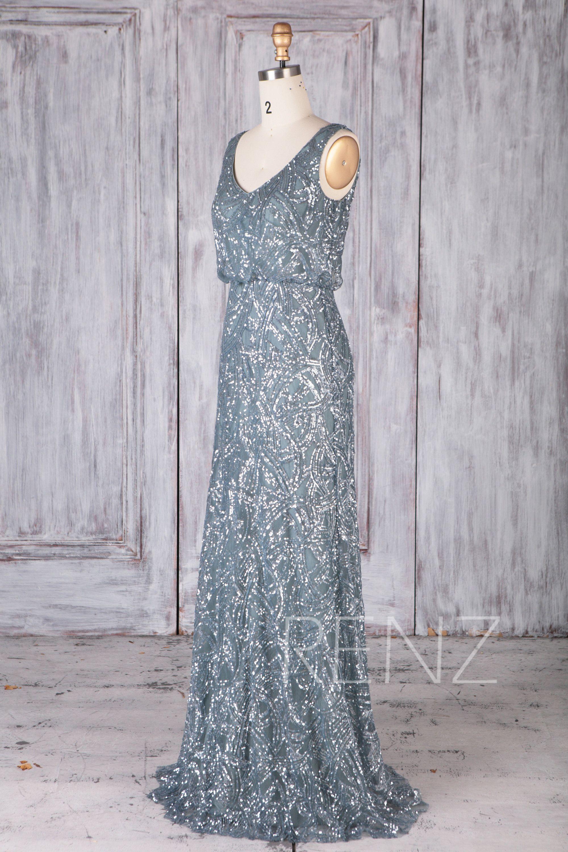 29c6ef567d2 Party Dress Dusty Blue Sequin Bridesmaid Dress Wedding Dress V Neck ...