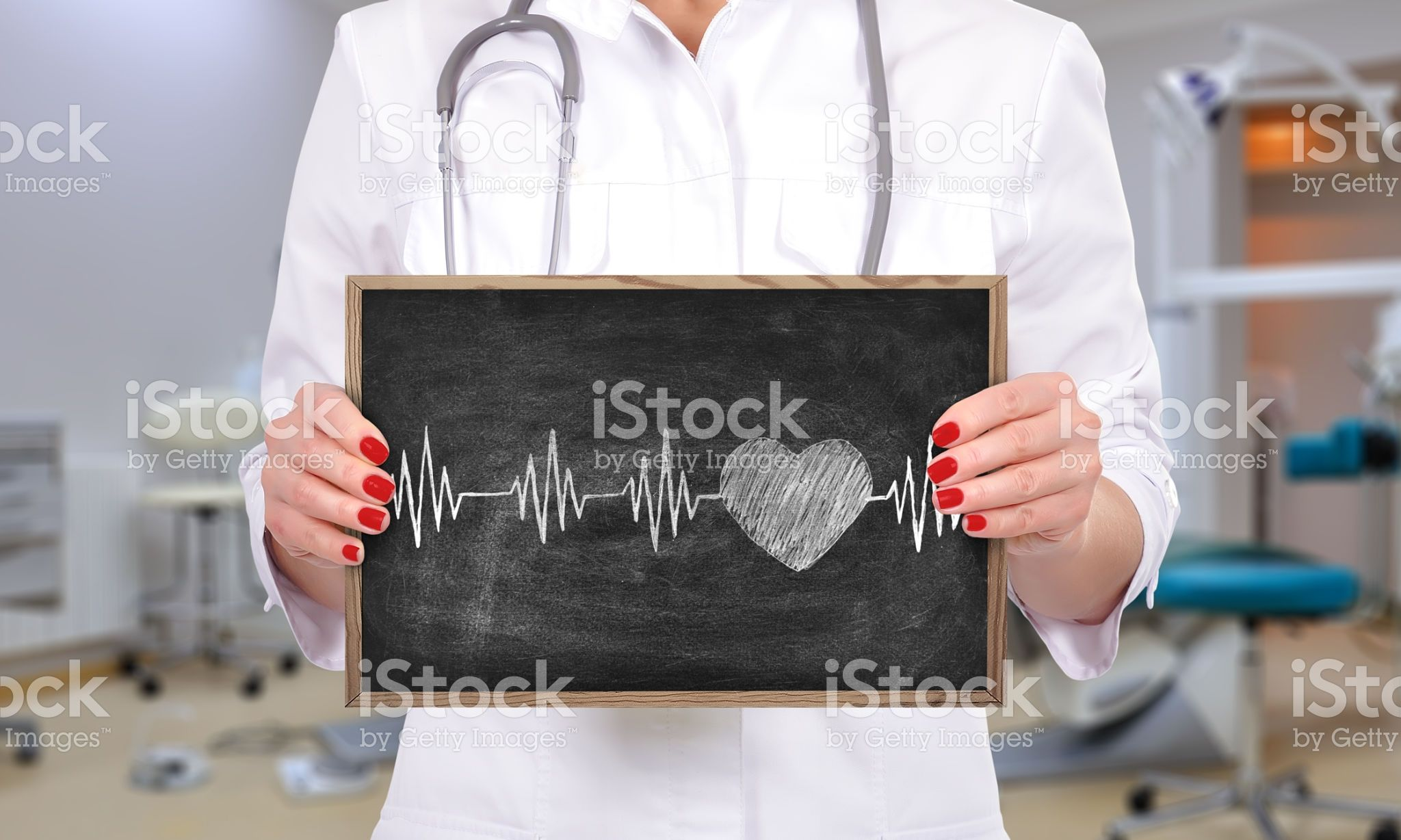 chalk board with heart pulse royaltyfree stock photo