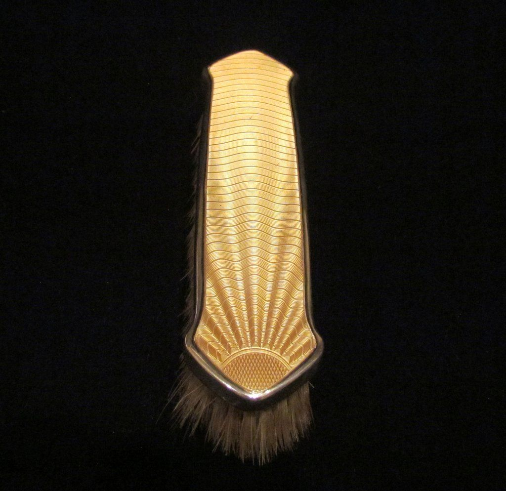 Sterling Silver Yellow Guilloche Clothing Brush 1930s Birmingham England W G S Ltd Mint Condition is part of Yellow Clothes Sterling Silver - 2 inches deep  Another stunning showstopper to add to any dressing table or vanity  Check our quick links at the bottom of the page to find a large selection of vintage vanity accessories  Power Of One Designs Payment & Shipping Information Reviews