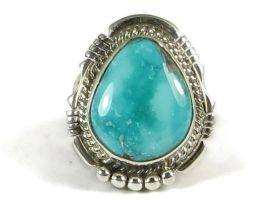 Battle Mountain Turquoise Ring Size 8 1/4 by San Felipe, Phillip Sanchez #turquoiserings #nativeamericanjewelry www.southwestsilvergallery.com