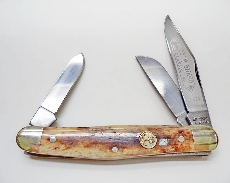 """SOLD OUT  Red Hill Cutlery Price $59.95  Special Production Stockman featuring three carbon steel blades and a smooth Buckskin Bone handle.  measures 4"""" closed  Vintage Tang: H. Boker & Co Solingen  Handmade in Solingen Germany"""