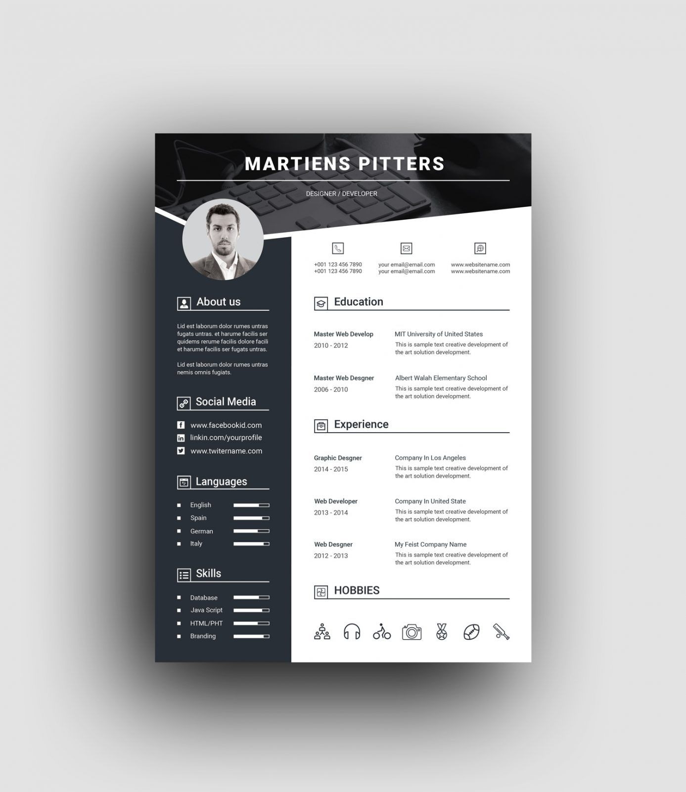 Berlin Premium Professional Resume Template 001452 Desain Resume Cv Kreatif Desain Cv