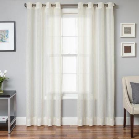 """Oakridge Faux Linen Grommet Top Curtain Panel 96"""" Natural"""