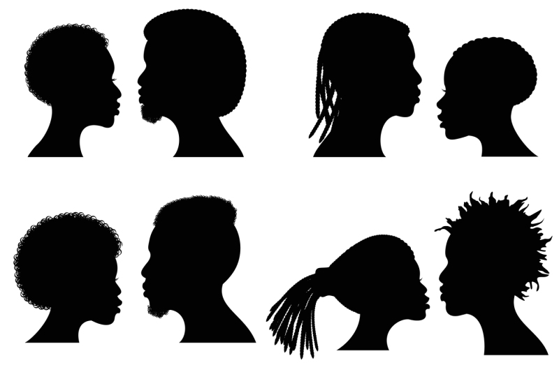 African Female And Male Face Vector Silhouettes Afro American Couple By Microvector Thehungryjpeg Com Black Woman Silhouette Male Face Silhouette