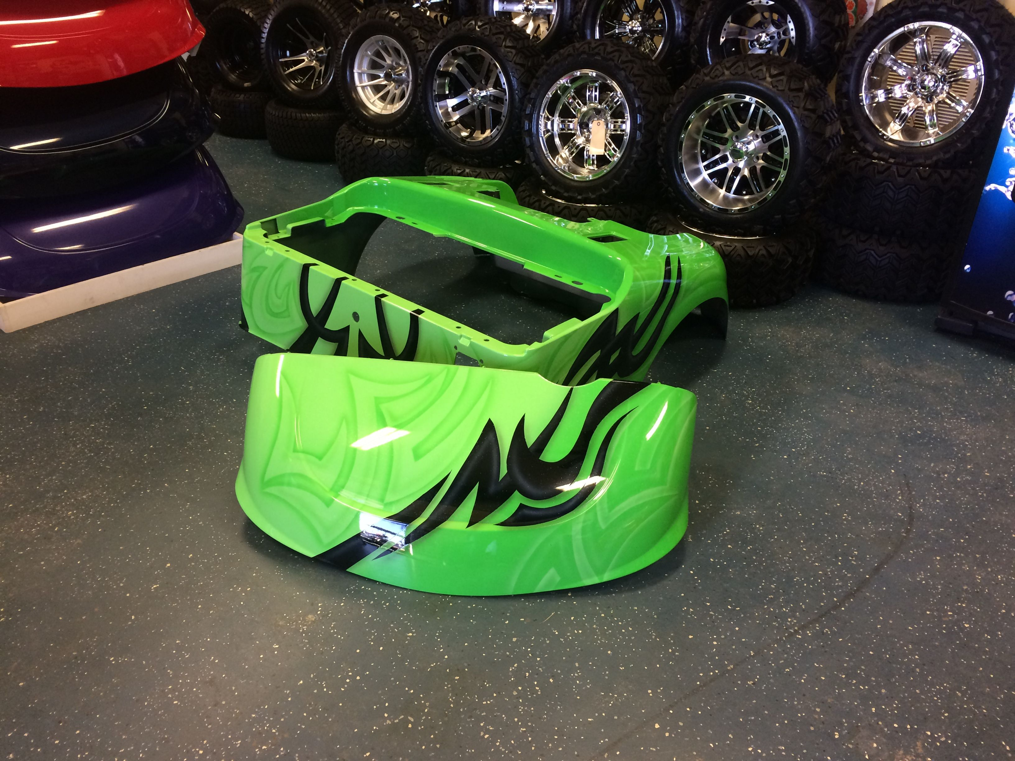 Lime Green Black Custom Painted Golf Cart Body