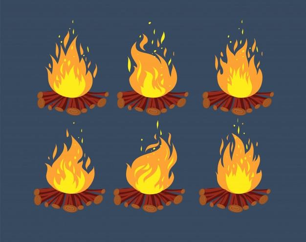 Camp Fire Animation Sprites Cartoon Bonfire Animation Frames Set Fire Animation Animation Fire Vector