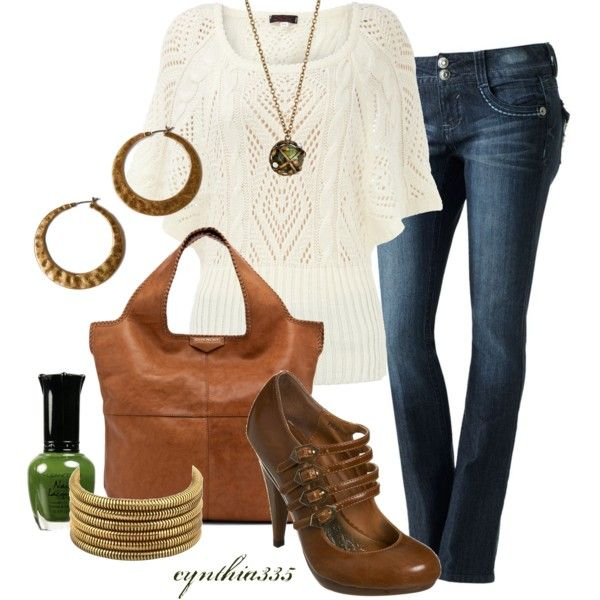 Candie's Faded Bootcut Jeans + Cream batwing knitted jumper top + GIVENCHY  Big Whipstitch Tote in Camel + Tan Platform Multi Strap Shoe + Belle Noel  By Kim ...