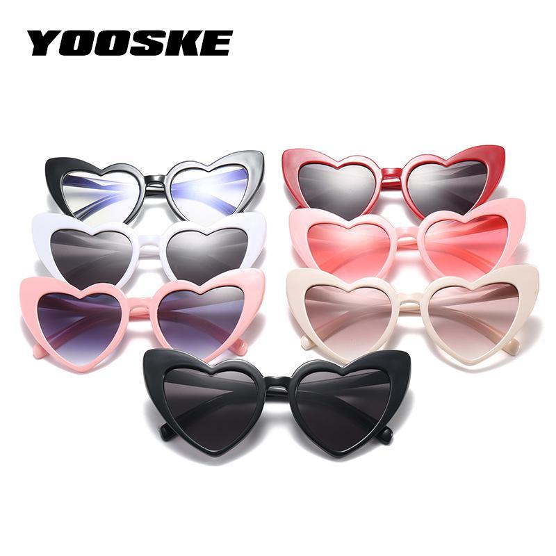 3d9a38b1c5e YOOSKE Love Heart Sunglasses Women Cat Eye Vintage Christmas gift Heart  shape Party Glasses for Women Driving UV400