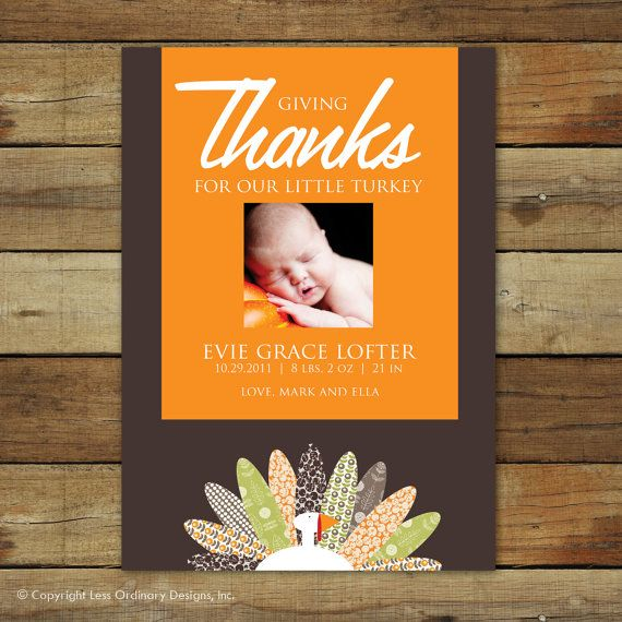 thanksgiving baby birth announcement   u0026quot for our little