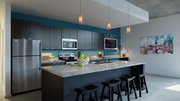 moderne küchen dunkelblau grau und schwarz erfolgreich kombinieren - küchen farben trend