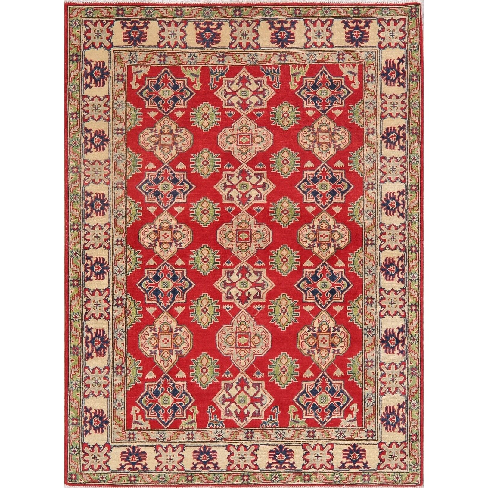 Traditional Kazak Pakistani Carpet Hand Knotted Wool Oriental Area Rug 7 1 X 5 2 In 2020 Area Rugs Beige Area Rugs Colorful Rugs