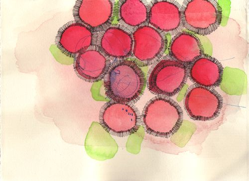 "Misato Suzuki  ""Hana""  2006 5.5"" x 7.5""  Watercolo and Ink on Paper"