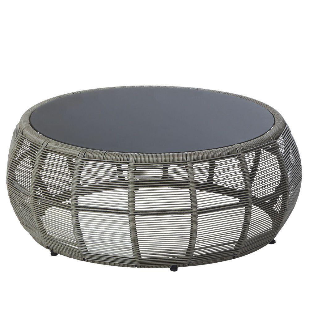 Table basse de jardin ronde en résine tressée et verre gris ...