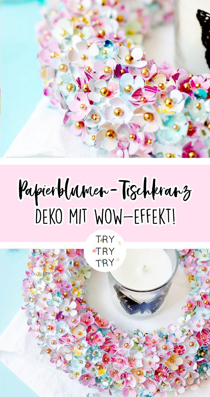 DIY Deko - Papierblumen-Tischkranz