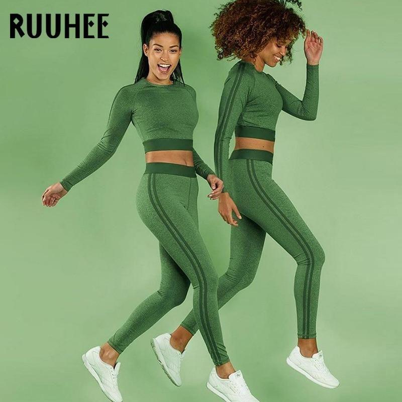 6cfb1fb8ef2 Women Fitness Yoga Set Gym Sports Running Long Sleeve T-Shirt Jogging Dance  Sport Suit