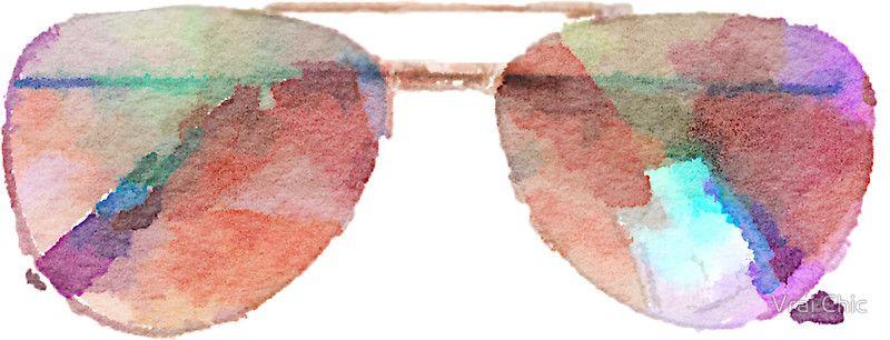 dbebad95bea Aviator Sunglasses Watercolor Sticker - Hipster/Trendy Meme ...