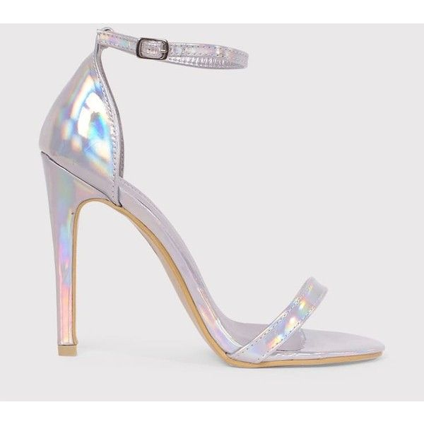 8c1397c78b4 Clover Silver Holographic Strap Heeled Sandals ( 16) ❤ liked on Polyvore  featuring shoes