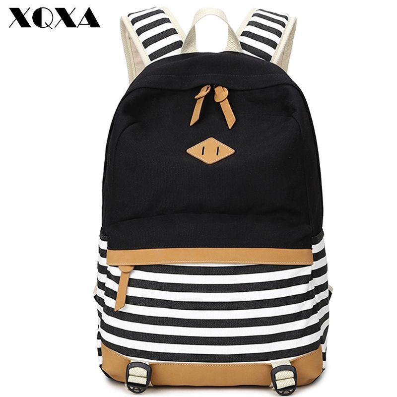 f4dba69b6 XQXA preppy mochilas escolares mochila para adolescentes meninas bonito  listrado lona impressão mochilas mulheres mochila escolar Feminino