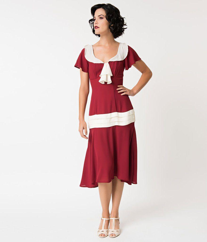 9cd23e8b768 Unique Vintage 1920s Burgundy   Cream Wilshire Flapper Day Dress
