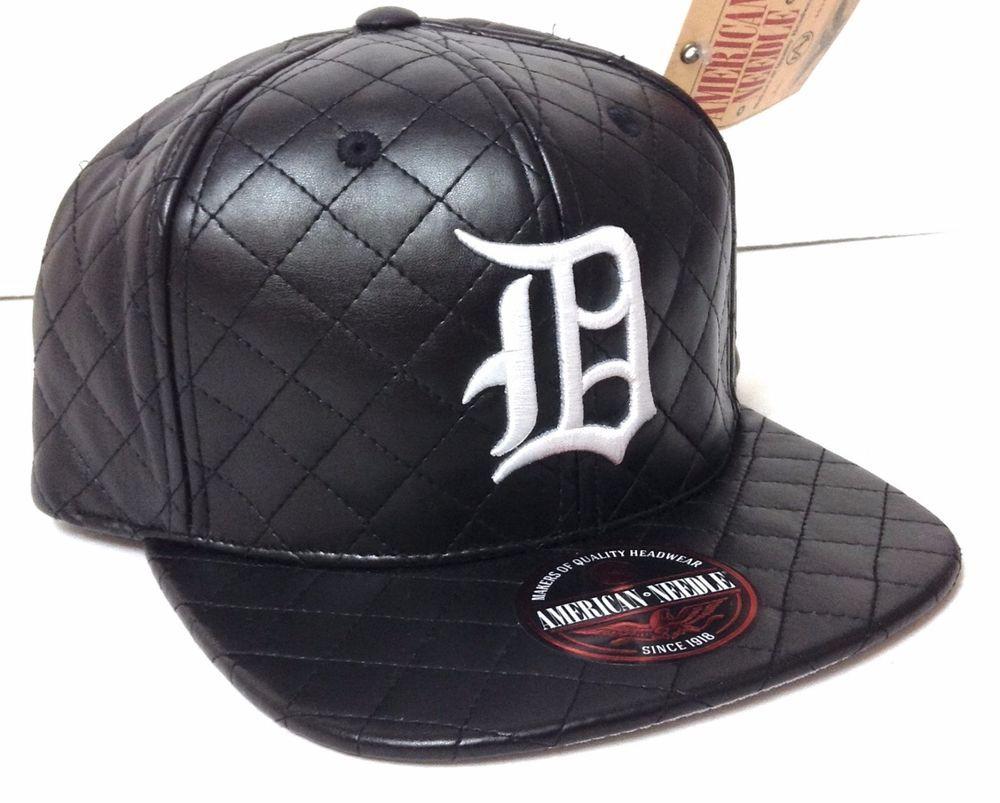 f28b855855202 BLACK white Leather-Look QUILTED DETROIT TIGER HAT Flat-Bill Men Women  STRAPBACK  AmericanNeedle  DetroitTigers