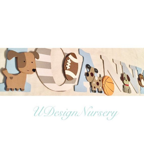 Wooden Nursery Wall Letters - Puppy and Sports - Puppy Nursery