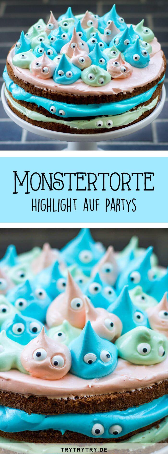 Kleine Monster-Torte: Eine Highlight-Torte auf Partys wie Halloween oder (Kinder-)Geburtstagen. Der absoluter Hingucker für besondere Anlässe. #halloweenessenkinder