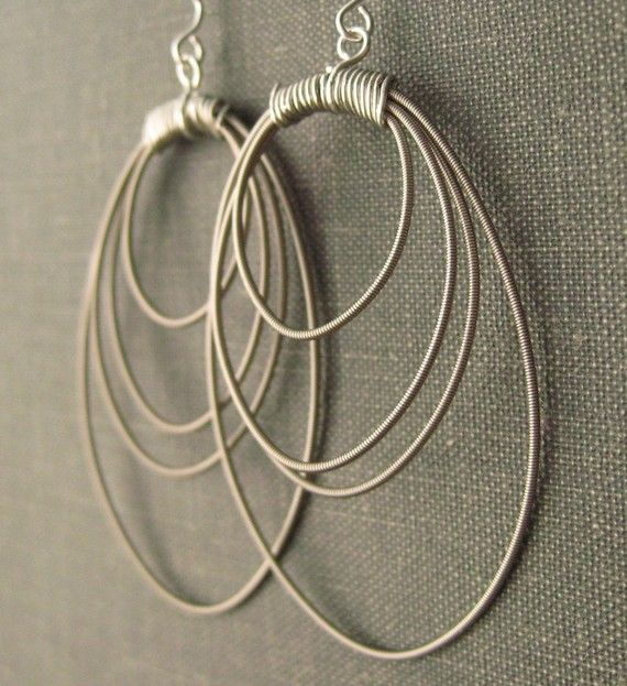 silver hoop earrings guitar string jewelry i love guitar string jewelry wire jewelry. Black Bedroom Furniture Sets. Home Design Ideas