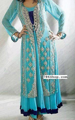 c3b0bb1909 Turquoise Crinkle Chiffon Suit | Buy Pakistani Designer Fashion ...