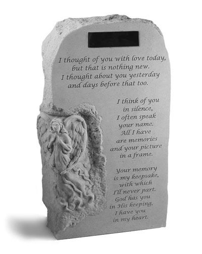 This statuary features a unique texture with a hand chiseled appearance  #memorials #memorialstones #remembrancestones #personalizedremembrancestones #sympathyquotes #sympathygifts #personalizedsympathygifts #memorialgifts #condolencegifts #memorials #expressingsympathy #grief  http://www.thecomfortcompany.net/