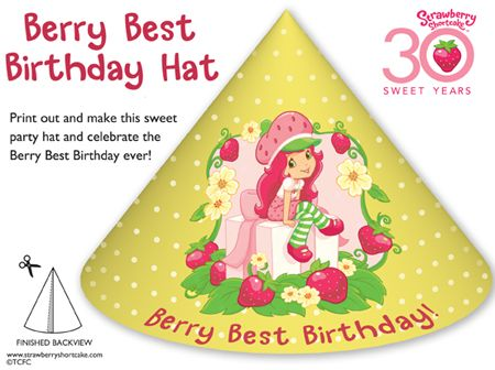Strawberry Shortcake Birthday Party Hat Printable and coloring - Party Hat Template